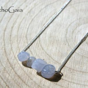 Shop Blue Lace Agate Necklaces! Dainty Blue Lace Agate bar necklace silver for anxiety, Wellness calming stone gift, intention communication crystals healing jewelry | Natural genuine Blue Lace Agate necklaces. Buy crystal jewelry, handmade handcrafted artisan jewelry for women.  Unique handmade gift ideas. #jewelry #beadednecklaces #beadedjewelry #gift #shopping #handmadejewelry #fashion #style #product #necklaces #affiliate #ad