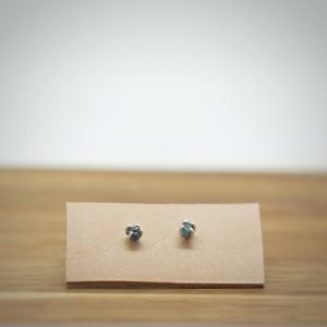 Blue Raw Diamond Sterling Silver Stud Earrings-dainty studs-bridal earrings-raw diamond earrings | Natural genuine Diamond earrings. Buy handcrafted artisan wedding jewelry.  Unique handmade bridal jewelry gift ideas. #jewelry #beadedearrings #gift #crystaljewelry #shopping #handmadejewelry #wedding #bridal #earrings #affiliate #ad