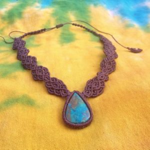 Shop Chrysocolla Necklaces! Brown Macrame Chrysocolla Necklace Choker Cabochon Gemstone Boho Gift OOAK ~ Gypsy Necklace ~ Macrame Necklace ~ Macrame Chrysocolla Jewelry | Natural genuine Chrysocolla necklaces. Buy crystal jewelry, handmade handcrafted artisan jewelry for women.  Unique handmade gift ideas. #jewelry #beadednecklaces #beadedjewelry #gift #shopping #handmadejewelry #fashion #style #product #necklaces #affiliate #ad