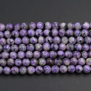 "Natural Charoite Round Beads 6mm 8mm 10mm Round beads Rich Purple Charoite Black Aegirine Matrix High Quality Russian Gemstone 16"" Strand 