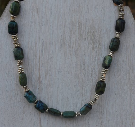 Chrysocolla Jewelry Set, Necklace And Bracelet, Mother's Day Gift