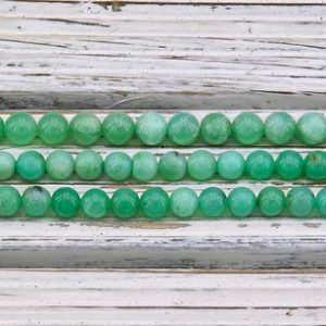 Shop Chrysoprase Round Beads! Chrysoprase 6.5-7.5mm round beads (ETB01259) | Natural genuine round Chrysoprase beads for beading and jewelry making.  #jewelry #beads #beadedjewelry #diyjewelry #jewelrymaking #beadstore #beading #affiliate #ad
