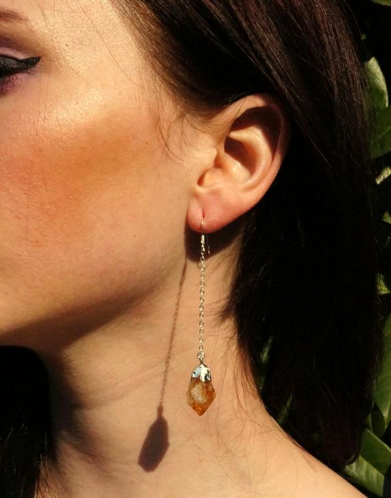 Raw Citrine Earrings / Silver Citrine Earrings / Crystal Earrings / Raw Crystal Earrings / Gold Citrine Earrings / November Birthstone