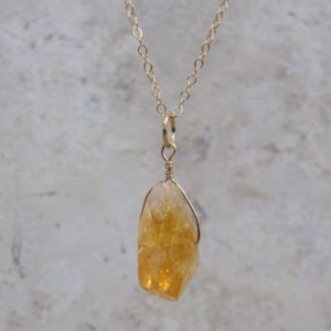 Shop Citrine Necklaces! Raw Citrine Necklace, Natural Citrine Crystal in Sterling Silver or Gold Filled, Raw Stone Pendant | Natural genuine Citrine necklaces. Buy crystal jewelry, handmade handcrafted artisan jewelry for women.  Unique handmade gift ideas. #jewelry #beadednecklaces #beadedjewelry #gift #shopping #handmadejewelry #fashion #style #product #necklaces #affiliate #ad