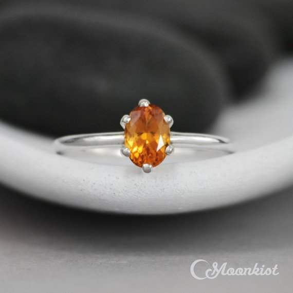 Citrine Oval Engagement Ring - Sterling Silver Oval Solitaire Ring - Oval Gemstone Bridal Ring - Six Prong Ring - November Birthstone Ring