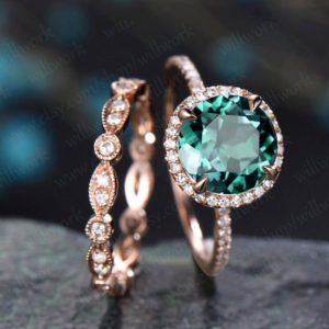 Shop Emerald Engagement Rings! Emerald ring vintage emerald engagement ring set rose gold full eternity matching marquise diamond halo ring band bridal wedding ring set | Natural genuine Emerald rings, simple unique alternative gemstone engagement rings. #rings #jewelry #bridal #wedding #jewelryaccessories #engagementrings #weddingideas #affiliate #ad