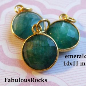 Shop Emerald Beads! Gemstone Pendant May Birthstone Charm / EMERALD Gem Stone / 24k Plated or Sterling Silver Bezel 14×11 mm Round, Jewelry Supplies gcp6 gp ll | Natural genuine beads Emerald beads for beading and jewelry making.  #jewelry #beads #beadedjewelry #diyjewelry #jewelrymaking #beadstore #beading #affiliate #ad