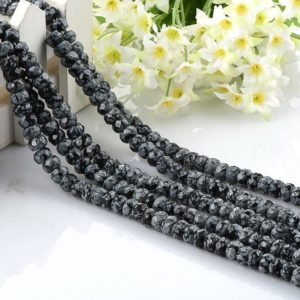 Shop Snowflake Obsidian Rondelle Beads! Faceted Natural SnowFlake Obsidian Rondelle Beads, Gray Black Spotted Jasper Gemstone 5*8mm, Full Strand, Wholesale | Natural genuine rondelle Snowflake Obsidian beads for beading and jewelry making.  #jewelry #beads #beadedjewelry #diyjewelry #jewelrymaking #beadstore #beading #affiliate #ad