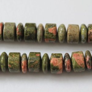 Shop Unakite Bead Shapes! Full Strand Natural Unakite Jasper Polish Wheel/Abacus Beads | Natural genuine other-shape Unakite beads for beading and jewelry making.  #jewelry #beads #beadedjewelry #diyjewelry #jewelrymaking #beadstore #beading #affiliate #ad