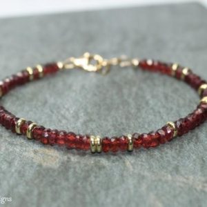 Garnet Bracelet, Garnet Jewelry, Brass, Beaded, Layering Bracelet, Gemstone Jewelry | Natural genuine Garnet bracelets. Buy crystal jewelry, handmade handcrafted artisan jewelry for women.  Unique handmade gift ideas. #jewelry #beadedbracelets #beadedjewelry #gift #shopping #handmadejewelry #fashion #style #product #bracelets #affiliate #ad