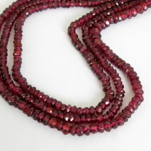 Shop Garnet Faceted Beads! 3mm – 4mm Faceted Garnet Bead Strand, Raspberry Garnets, 3mm – 3.5mm – 4mm Faceted Rondelle, Genuine Gemstone, Garnet205 | Natural genuine faceted Garnet beads for beading and jewelry making.  #jewelry #beads #beadedjewelry #diyjewelry #jewelrymaking #beadstore #beading #affiliate #ad