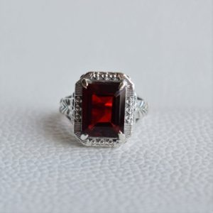 Shop Garnet Rings! Natural Garnet Ring-Handmade Silver Ring-925 Sterling Silver Ring-Designer Rectangle Garnet Ring-Anniversary Ring-January Birthstone | Natural genuine Garnet rings, simple unique handcrafted gemstone rings. #rings #jewelry #shopping #gift #handmade #fashion #style #affiliate #ad