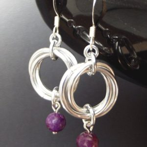 Gemstone Earrings, Purple Lepidolite and Silver Aluminium Mobius Chainmaille Earrings, Mother's Day Gift, Bridesmaid Gift, Boho Jewelry | Natural genuine Gemstone earrings. Buy crystal jewelry, handmade handcrafted artisan jewelry for women.  Unique handmade gift ideas. #jewelry #beadedearrings #beadedjewelry #gift #shopping #handmadejewelry #fashion #style #product #earrings #affiliate #ad