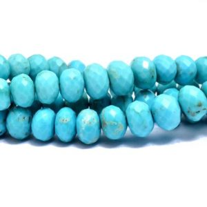 Shop Turquoise Rondelle Beads! Genuine Turquoise Gemstone Faceted Rondelle | 5mm-7mm Beads 8inch Strand | Arizona AAA+ Turquoise Semi Precious Gemstone Beads for Jewelry | | Natural genuine rondelle Turquoise beads for beading and jewelry making.  #jewelry #beads #beadedjewelry #diyjewelry #jewelrymaking #beadstore #beading #affiliate #ad