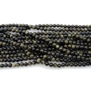 "Natural Golden Obsidian Beads 4mm 6mm 8mm 10mm AAA High Quality 15.5"" Strand 