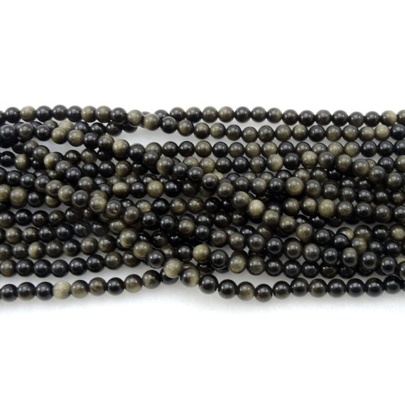 """Natural Golden Obsidian Beads 4mm 6mm 8mm 10mm Aaa High Quality 15.5"""" Strand"""