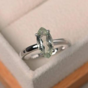 Solitaire Ring, Natural Green Amethyst Ring, Engagement Ring, Marquise Cut Gemstone | Natural genuine Gemstone rings, simple unique alternative gemstone engagement rings. #rings #jewelry #bridal #wedding #jewelryaccessories #engagementrings #weddingideas #affiliate #ad