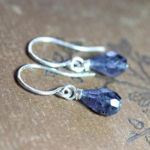 Shop Iolite Earrings! Iolite Earrings Sterling Silver Blue Gemstone Faceted Teardrop Bead Earrings | Natural genuine Iolite earrings. Buy crystal jewelry, handmade handcrafted artisan jewelry for women.  Unique handmade gift ideas. #jewelry #beadedearrings #beadedjewelry #gift #shopping #handmadejewelry #fashion #style #product #earrings #affiliate #ad