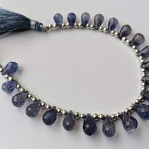 Shop Iolite Bead Shapes! 5×8-7x10mm Iolite faceted Teardrop Beads, Naural Iolite Briolettes, 6 Inches IoliteGor Jewelry, Iolite Tear Drop Beads – PAG10 | Natural genuine other-shape Iolite beads for beading and jewelry making.  #jewelry #beads #beadedjewelry #diyjewelry #jewelrymaking #beadstore #beading #affiliate #ad