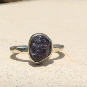 Shop Iolite Rings! Raw Stone Ring, Iolite Silver Ring, Natural Blue Stone Ring | Natural genuine Iolite rings, simple unique handcrafted gemstone rings. #rings #jewelry #shopping #gift #handmade #fashion #style #affiliate #ad