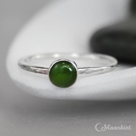 Green Jade Ring For Her, Sterling Silver Jade Ring, Bezel Set Jade Promise Ring, Simple Jade Stacking Ring | Moonkist Designs