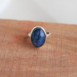 Shop Kyanite Rings! Natural Kyanite Ring-handmade Silver Ring-925 Sterling Silver Ring-oval Kyanite Ring-gift For Her-february March Birthstone-promise Ring | Natural genuine Kyanite rings, simple unique handcrafted gemstone rings. #rings #jewelry #shopping #gift #handmade #fashion #style #affiliate #ad