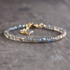 Labradorite Bracelet, Stacking Gemstone Bracelet, Gift for Her, Gift for Mom | Natural genuine Labradorite bracelets. Buy crystal jewelry, handmade handcrafted artisan jewelry for women.  Unique handmade gift ideas. #jewelry #beadedbracelets #beadedjewelry #gift #shopping #handmadejewelry #fashion #style #product #bracelets #affiliate #ad