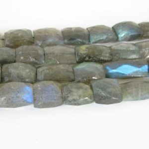"Shop Labradorite Bead Shapes! Labradorite Beads, Genuine Faceted Labradorite Rectangle Beads, Full Strand Labradorite Beads, 15"" Strand, Lab205 