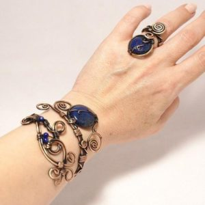 Shop Lapis Lazuli Bracelets! Lapis Lazuli Bracelet, Copper Jewelry, Copper Bracelet, Lapis Lazuli Cuff Bracelet, Lapis Lazuli Jewelry,  Wire Wrapped Bracelet | Natural genuine Lapis Lazuli bracelets. Buy crystal jewelry, handmade handcrafted artisan jewelry for women.  Unique handmade gift ideas. #jewelry #beadedbracelets #beadedjewelry #gift #shopping #handmadejewelry #fashion #style #product #bracelets #affiliate #ad