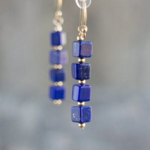 Lapis Lazuli Dangle Earrings in Sterling Silver or Gold Filled, September Birthstone Earrings, Gift for Woman | Natural genuine Lapis Lazuli earrings. Buy crystal jewelry, handmade handcrafted artisan jewelry for women.  Unique handmade gift ideas. #jewelry #beadedearrings #beadedjewelry #gift #shopping #handmadejewelry #fashion #style #product #earrings #affiliate #ad