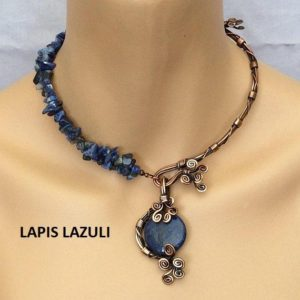 unique necklaces for women, lapis lazuli necklace, lapis lazuli jewelry, copper boho wedding necklace, statement necklace | Natural genuine Gemstone necklaces. Buy handcrafted artisan wedding jewelry.  Unique handmade bridal jewelry gift ideas. #jewelry #beadednecklaces #gift #crystaljewelry #shopping #handmadejewelry #wedding #bridal #necklaces #affiliate #ad