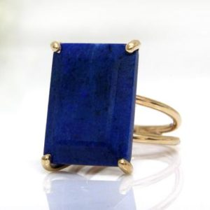 Lapis Ring · Rectangular Ring · Gold Ring · September Birthstone Ring · Cocktail Ring · Statement Ring · Bridal Ring | Natural genuine Lapis Lazuli rings, simple unique alternative gemstone engagement rings. #rings #jewelry #bridal #wedding #jewelryaccessories #engagementrings #weddingideas #affiliate #ad