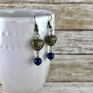Shop Heart Shaped Earrings! Lapis Lazuli Stone with Brass Hearts Earrings | Natural genuine Gemstone earrings. Buy crystal jewelry, handmade handcrafted artisan jewelry for women.  Unique handmade gift ideas. #jewelry #beadedearrings #beadedjewelry #gift #shopping #handmadejewelry #fashion #style #product #earrings #affiliate #ad