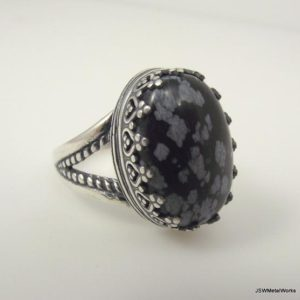 Shop Snowflake Obsidian Rings! Large Victorian Sterling Silver Snowflake Obsidian Ring, Ornate Silver Filigree Ring Size 7 | Natural genuine Snowflake Obsidian rings, simple unique handcrafted gemstone rings. #rings #jewelry #shopping #gift #handmade #fashion #style #affiliate #ad
