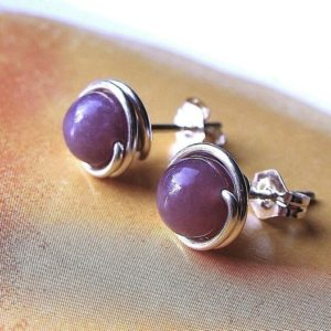 Lepidolite Studs 4mm 6mm or 8mm Studs Post Earrings Wire Wrapped in Sterling Silver | Natural genuine Gemstone jewelry. Buy crystal jewelry, handmade handcrafted artisan jewelry for women.  Unique handmade gift ideas. #jewelry #beadedjewelry #beadedjewelry #gift #shopping #handmadejewelry #fashion #style #product #jewelry #affiliate #ad