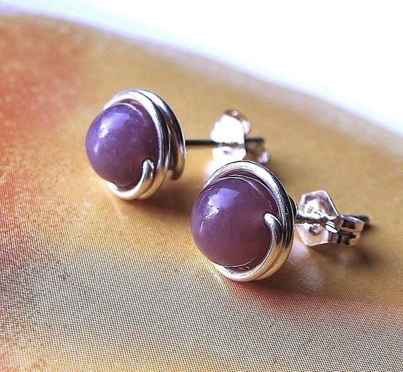 Lepidolite Studs 4mm 6mm Or 8mm Studs Post Earrings Wire Wrapped In Sterling Silver