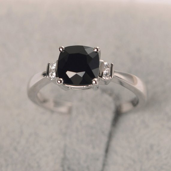 Black Spinel Ring Cushion Cut Ring Sterling Silver Engagement Ring For Women