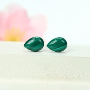 Malachite Earrings – Malachite Studs Earrings – Stud Earrings – Dot Earrings – Simple Stud Earrings – Green Earrings – Teardrop Earrings | Natural genuine Malachite earrings. Buy crystal jewelry, handmade handcrafted artisan jewelry for women.  Unique handmade gift ideas. #jewelry #beadedearrings #beadedjewelry #gift #shopping #handmadejewelry #fashion #style #product #earrings #affiliate #ad