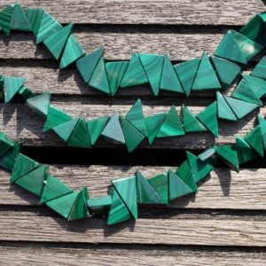 Shop Malachite Bead Shapes! Malachite 8-14mm Triangle Beads (etb00179) | Natural genuine other-shape Malachite beads for beading and jewelry making.  #jewelry #beads #beadedjewelry #diyjewelry #jewelrymaking #beadstore #beading #affiliate #ad