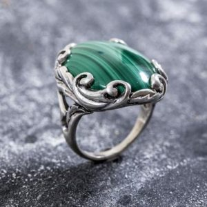 Shop Malachite Rings! Large Malachite Ring, Natural Malachite, Vintage Rings, Large Stone Ring, Natural Stone, Malachite Ring, Green Ring, Solid Silver, Malachite | Natural genuine Malachite rings, simple unique handcrafted gemstone rings. #rings #jewelry #shopping #gift #handmade #fashion #style #affiliate #ad