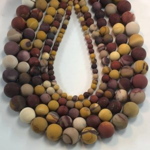 "Shop Mookaite Beads! Matte Mookaite Gemstone Beads. 15"" strand of AA/AAA Grade round beads available in 4, 6, 8, 10, and 12mm. Mooka Jasper 