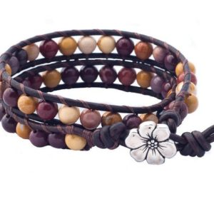 Shop Mookaite Bracelets! Brown Leather Double Wrap Bracelet, Beaded Energy Bracelet, Pink Mookaite Stone Jewelry Gift For Women, Healing Bracelet Gift For Her | Natural genuine Mookaite bracelets. Buy crystal jewelry, handmade handcrafted artisan jewelry for women.  Unique handmade gift ideas. #jewelry #beadedbracelets #beadedjewelry #gift #shopping #handmadejewelry #fashion #style #product #bracelets #affiliate #ad