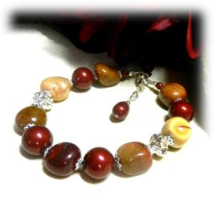 Shop Mookaite Bracelets! 1995B Mookaite Jasper Bracelet, Burgundy Swarovski Pearls, Mookaite Gemstones, Gemstone Jewelry, Handcrafted Jewelry, Red and gold Jewelry, | Natural genuine Mookaite bracelets. Buy crystal jewelry, handmade handcrafted artisan jewelry for women.  Unique handmade gift ideas. #jewelry #beadedbracelets #beadedjewelry #gift #shopping #handmadejewelry #fashion #style #product #bracelets #affiliate #ad