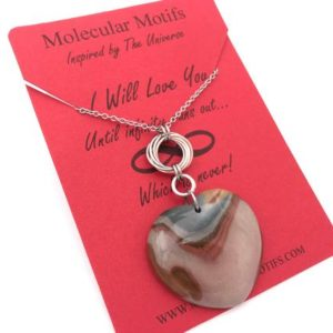 Shop Mookaite Necklaces! Desert Jasper Heart Necklace-Gemstone Pendant-Chainmail Chainmaille Jewelry-Mobius Infinity Knot-Christmas Gift-Stocking Stuffer-OOAK | Natural genuine Mookaite necklaces. Buy crystal jewelry, handmade handcrafted artisan jewelry for women.  Unique handmade gift ideas. #jewelry #beadednecklaces #beadedjewelry #gift #shopping #handmadejewelry #fashion #style #product #necklaces #affiliate #ad