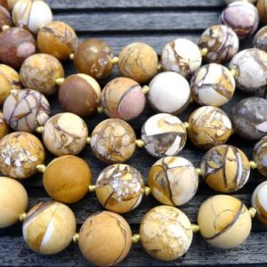 Shop Mookaite Beads! Matte Brecciated Mookaite Jasper round beads 13-14.5mm (ETB00263) Unique jewelry/Vintage jewelry/Gemstone necklace | Natural genuine round Mookaite beads for beading and jewelry making.  #jewelry #beads #beadedjewelry #diyjewelry #jewelrymaking #beadstore #beading #affiliate #ad