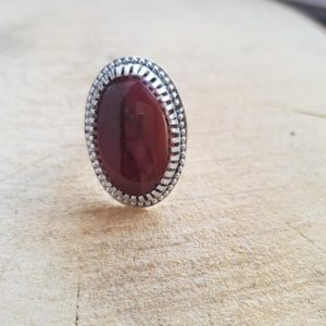 Shop Mookaite Rings! Mookaite ring, Sterling silver Mookaite, Gemstone Ring, Statement Ring, Red Mookaite Ring | Natural genuine Mookaite rings, simple unique handcrafted gemstone rings. #rings #jewelry #shopping #gift #handmade #fashion #style #affiliate #ad