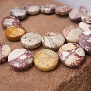 "Shop Mookaite Beads! Mosaic Mookaite Beads Multicolor Mookaite Gemstone Coin Disc Beads 14mm Full 16"" Strand  Mustard Maroon Purple MKXD2A0001 