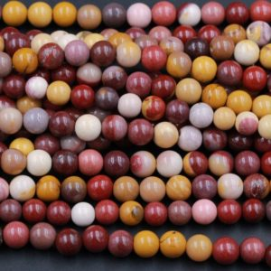 "Shop Mookaite Beads! Natural Australian Mookaite Jasper Beads 4mm Round 6mm Round Bead Sunset Color Red Yellow Maroon Red Creamy White Full 16"" Strand 