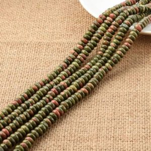 Shop Unakite Rondelle Beads! Natural Unakite Rondelle Beads, Natural Unakite Disc Beads, Unakite Roundel Beads 4*8MM | Natural genuine rondelle Unakite beads for beading and jewelry making.  #jewelry #beads #beadedjewelry #diyjewelry #jewelrymaking #beadstore #beading #affiliate #ad