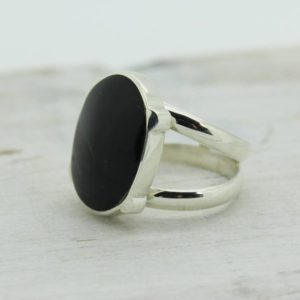 Shop Obsidian Rings! Black Obsidian Oval Shape Ring Made Of Natural Obsidian Stone And Sterling Silver 925e Medium / small Size Ring Simple And Stylish For Her | Natural genuine Obsidian rings, simple unique handcrafted gemstone rings. #rings #jewelry #shopping #gift #handmade #fashion #style #affiliate #ad